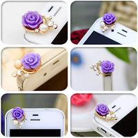 3.5mm Flower Rose Anti Dust Earphone Plug Cover Stopper Cap For iPhone Samsung