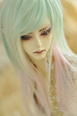"BJD Doll Hair Wig 7-8""1/4 SD DZ DOD LUTS Light Green Long Straight"