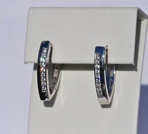 Echt-925-Sterling-Silber-Ohrringe-Creolen-mit-Zirkonia-Hochzeit-Nr-347E