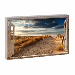 Bild-auf-Leinwand-Fensterblick-Nordsee-Strand-Meer-Poster-XXL-100-cm-65-cm-625q