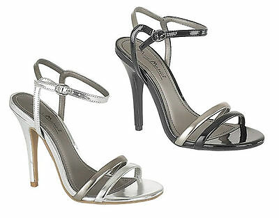 Womens Ladies High Heel Open Toe Metallic Strappy Sandals Court Shoes Size 3-8