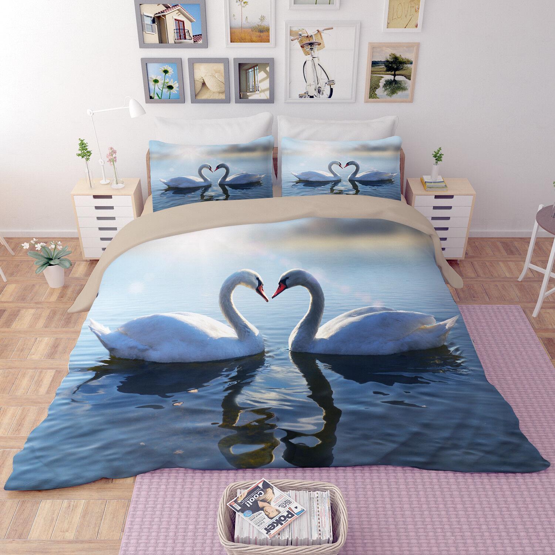 3D Swan Shadow 807 Bed Pillowcases Quilt Duvet Cover Set Single Queen UK Kyra