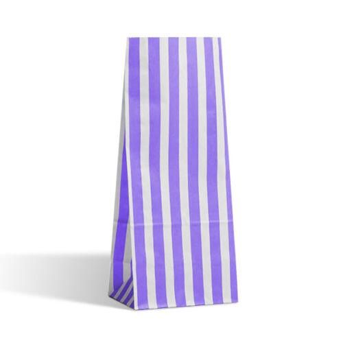 Bolsas de fiesta de papel Candy Stripe Purple Pick n Mix Boda Regalos botín 11cm X 25cm