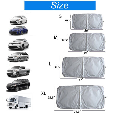 4 Sizes Foldable Truck Van Suv Mpv Car Sun Shade Windshield Visor Block Cover