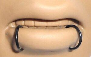 BLACK-Segment-Seamless-SNAKE-BITES-Lip-Hoops-Rings-16g-16-gauge-10mm-Diameter