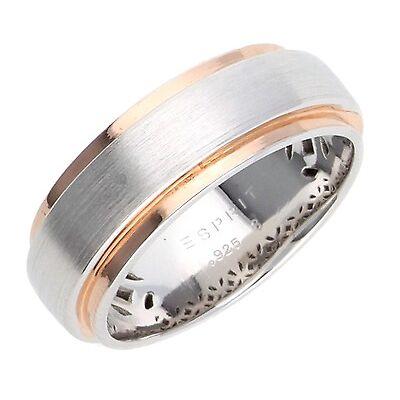 Esprit Damen Fingerring 925 Silber Silber-Rosegold Modern Shape Bicolor ESRG9227