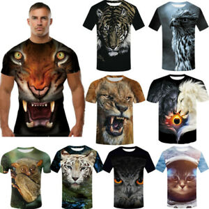 3D Printed T-Shirts Fashion of Tiger Head Short Sleeve Tops Tees