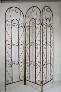 Image Is Loading Wrought Iron Tri Panel Privacy Screen S Curl