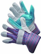 Work Gloves Leather Green Double Palm Shoulder Leather Pack Of 12 Pairs Large