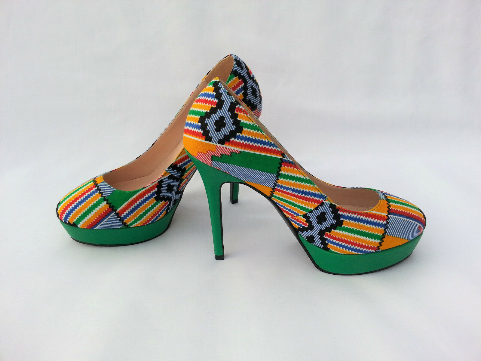 Chaussures femmes africaines Imprimer kente Taille UK 4,5,6,7,8,9