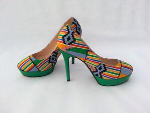 dd9e836ed24b5 Details about Women's Shoes African Print Kente UK Size 5,6,7,8,9