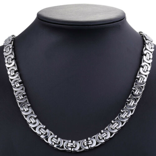 """18-36/"""" 11mm Stainless Steel Flat Byzantine Link Chain Necklace Mens Boys Jewelry"""
