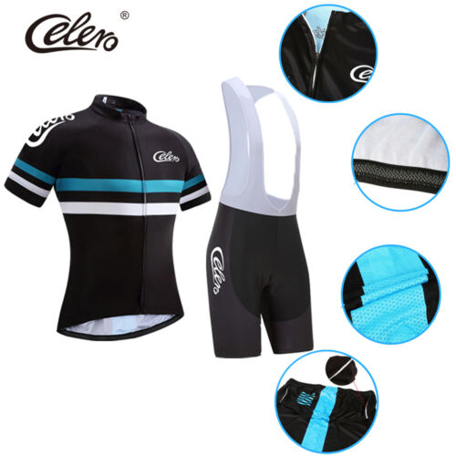 Men Cycling Bike Jersey Shirts Tops Race Road Ride Bicycle Breathable Bib Shorts