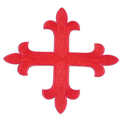 """12"""" (305mm) Red Equal Cross Iron On Applique x 1"""