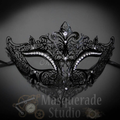Couples Black Simplistic and Black Luxury Costume Party Masquerade Mask Set