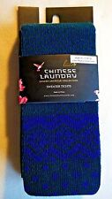 New CHINESE LAUNDRY Luxe Luxury Cotton Blend Leglon Blue/Navy Sweater Tights M/L