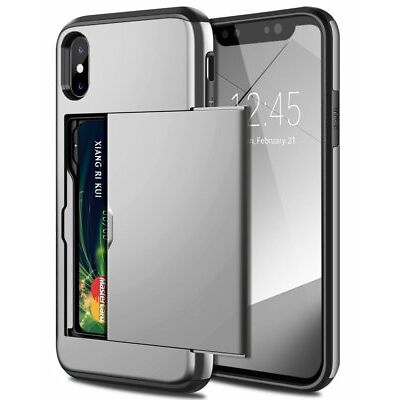 Slim Hard Case Hidden Credit Card Holder Wallet Cover For iPhone X XS