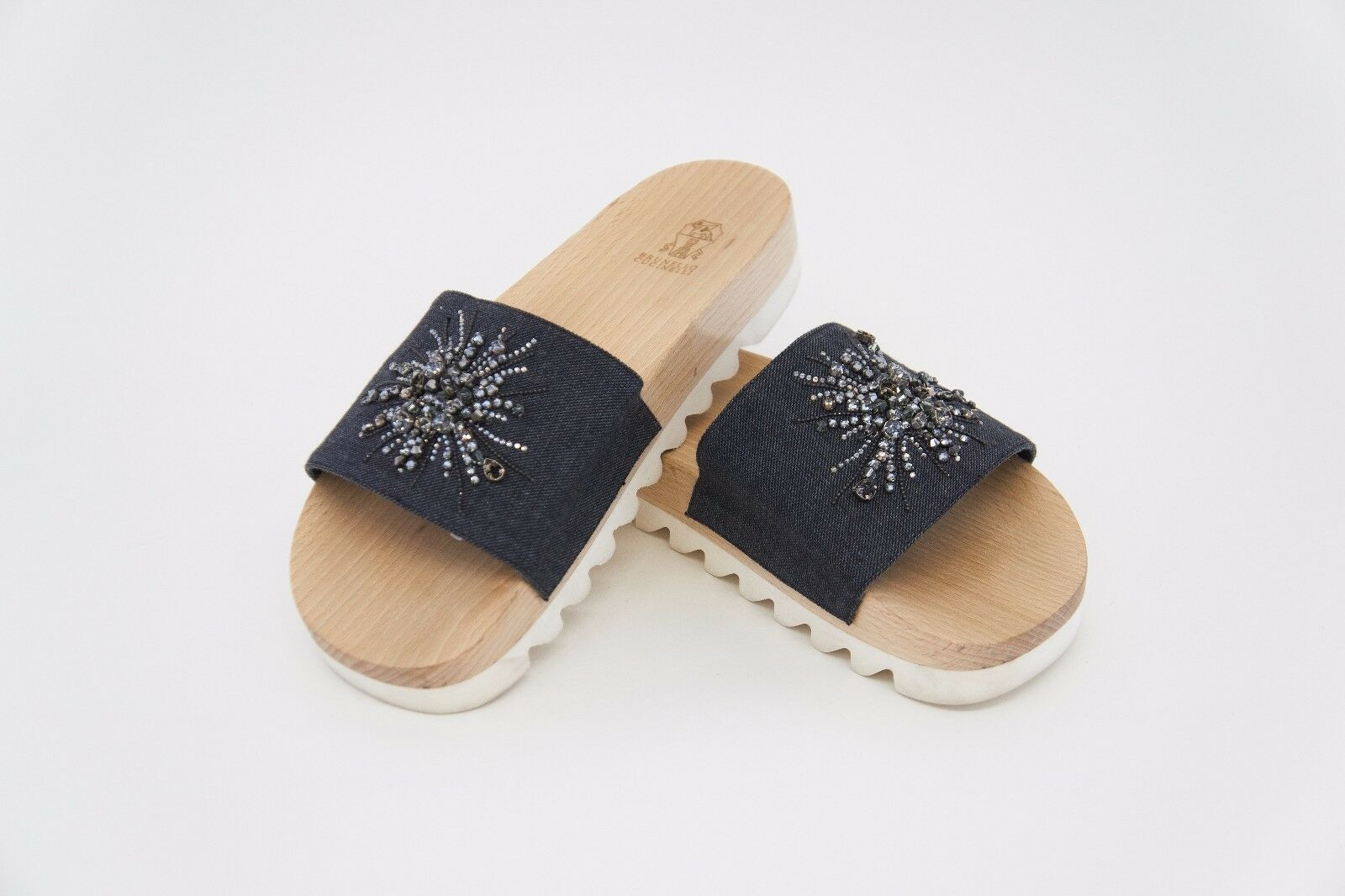 NWOB 1095 Brunello Cucinelli Sparkly Crystal Embellished Denim Slides Sz10* A176