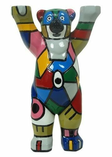 Buddy Bear Berlin Malu NIP Colorful Deco Berliner Bär 22cm incl. Glass Plate