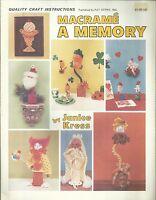Macrame A Memory Janice Kress Vintage Pattern Project Instruction Book 1980