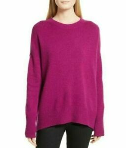 Details about NWT THEORY Drop Shoulder Crew Neck Soft Cashmere Sweater Royal Raspber Sz M $325