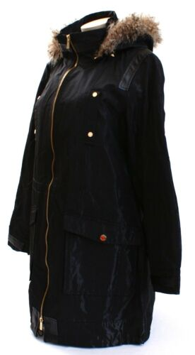 Jacket Black Nwt Long Front Shimmer Calvin Klein Zip Women's Hooded fwnO4BnqC