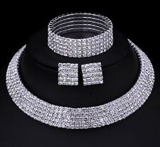 Boda nupcial Gargantilla 5 filas Juego Collar Aretes Pulsera Diamante de Imitación
