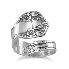 Spoon Ring Adjustable Size6-11 oxidized sterling silver floral design spoon ring