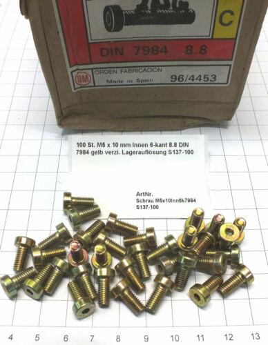 100 St M5 x 10 mm Innen 6-kant 8.8 DIN 7984 gelb verzi Lagerauflösung S137-100