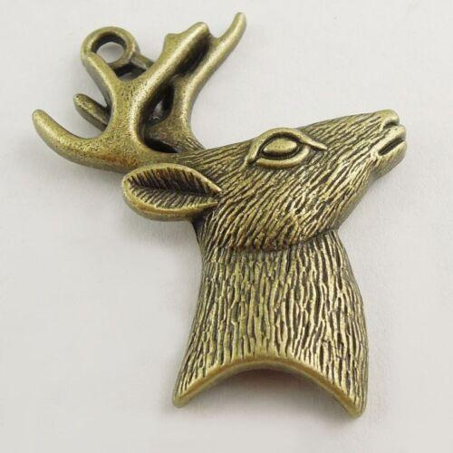 6pcs Antiqued Bronze Vintage Alloy Deer Head Antler Pendant Charms 37785