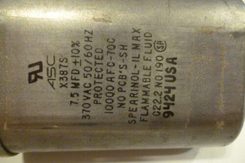 Quantity 1 Capacitor   7.5uf//microfarad   370vac//volt   Motor Run   Oval
