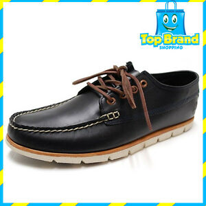 e39248f31c0 Details about Timberland Mens Tidelands Ranger A1BHA Leather Lace Up Shoe  Redwood Boat BLACK