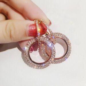 Fashion-Round-Hoop-Earrings-Crystal-Rhinestone-Womens-Wedding-Bridal-Jewellery