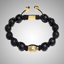 Black Beaded Agate Buddha Rope Bracelet/Bangle/Buddhist/prayer/10mm Beads