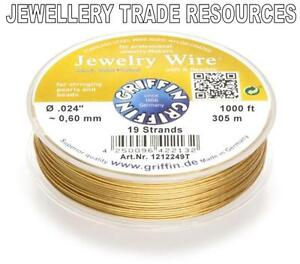 GRIFFIN-GOLD-PLATED-STEEL-BEADING-JEWELRY-WIRE-024-034-0-60mm-1000-FT-19-STRAND