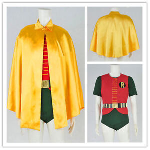 Batman-1966-Classic-Robin-Burt-Ward-Cosplay-Costume-Jumpsuit-Cape-Halloween