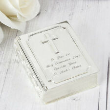Personalised Engraved Silver Bible Trinket Lined Box - Christening Wedding Gift