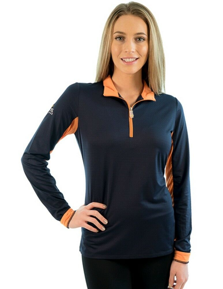 Kastel Charlotte 1 4 Zip - Navy with orange Trim