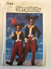 Mickey Mouse Costume Simplicity Sewing Pattern Adult Large FF 7729 Halloween