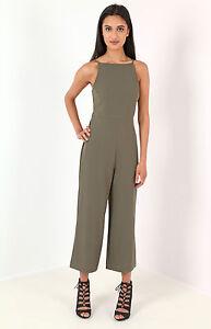 8ed93306983b Image is loading Women-Ladies-Strappy-tie-back-culotte-jumpsuit-khaki-