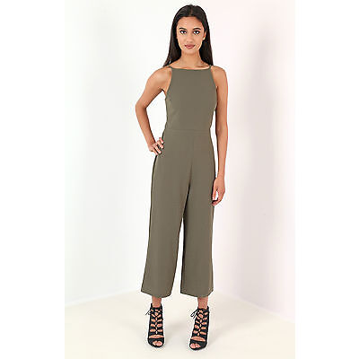 Women Ladies Strappy  tie back culotte jumpsuit khaki Size 8-14 UK