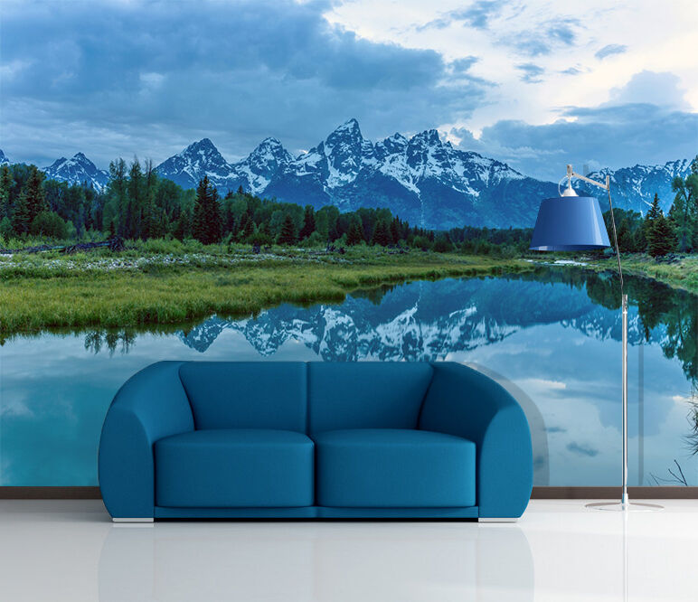 3D bluee Clouds Hill 567 Wall Paper Wall Print Decal Wall Deco Indoor Wall