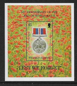 1995 Solomon Islands - 60th. Anniversary World War 11 Medal Mini Sheet - MNH.