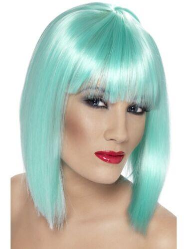 Glam Perücke Neon-Aquamarinblau