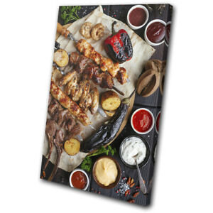 Chicken-Meat-BBQ-Barbecue-Food-Kitchen-SINGLE-CANVAS-WALL-ART-Picture-Print