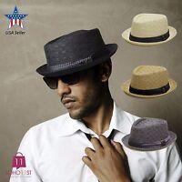 Men's Summer Porkpie Straw Fedora Hat Panama Short Brim Hat PMS 540