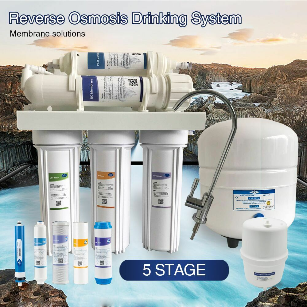 MADE IN USA Reverse Osmosis Water Filter System 5 Stage 75 GPD Durable Housing
