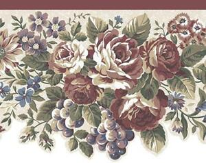 Wallpaper-Border-Traditional-Die-Cut-Red-Rose-Floral-Grapes-Off-White-Background