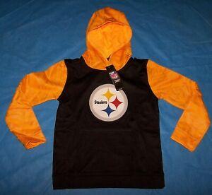 86f180c0ecd024 Size S 8/10 Boys Pittsburgh Steelers Performance Fleece Hoodie NFL ...