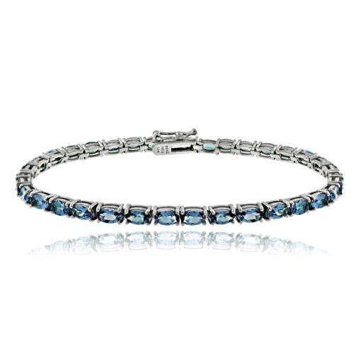 """7.5/"""" Argent 925 10.5 Ct Londres topaze bleue ovale Tennis Bracelet"""